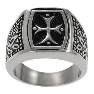Daxx Stainless Steel Mens Vintage style Pattee Cross Ring