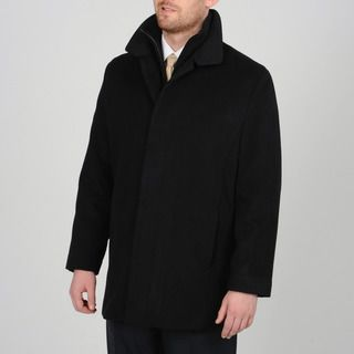 Tasso Elba Mens Black Wool blend Carcoat with Bib