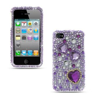 Premium iPhone 4/ 4S Purple Heart Rhinestone Protector Case