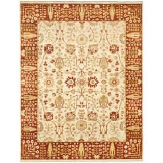 Pakistani Hand knotted Peshawar Beige/ Red Wool Rug (8 x 10