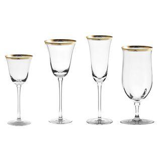 10 Strawberry Street Windsor Gold 16 piece Glassware Set