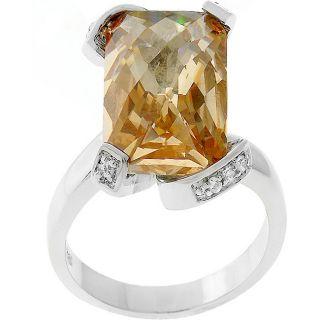 Kate Bissett Silvertone Emerald cut Champagne CZ Engagement Ring MSRP