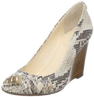 Calvin Klein Womens Flare Classic Python Print Open Toe Wedge Shoes