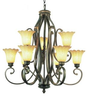 Trans Globe 9 light Burnished Gold New Century Transitional Chandelier