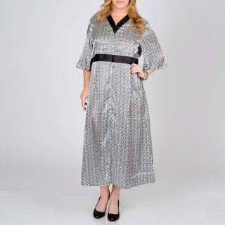 La Cera Womens Plus Geometric Print Lounger Dress