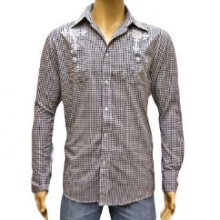 Black & White Mens Cross Embroidered Button Down Dress