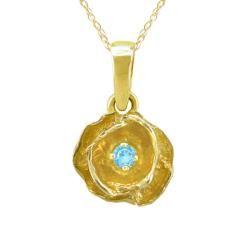 10k Gold March Birthstone Sky Blue Topaz Flower Necklace