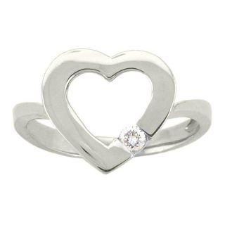 10k Gold White Topaz April Birthstone Heart Ring