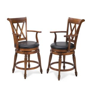 Home Styles Distressed Cottage Oak Deluxe Bar Stool