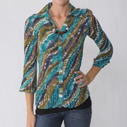 Signature by Larry Levine Womens Necklace Crinkle Blouse