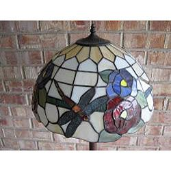 Tiffany style Dragonfly with Red Rose Floor Lamp