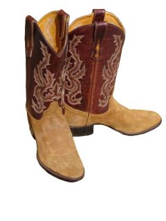 Jurassic Two toned Brown Roughout Cowboy Boots