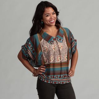 Womens Teal Floral and Bird Mixed Print Top