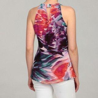 Calvin Klein Womens Stripe Scoop Neck Top