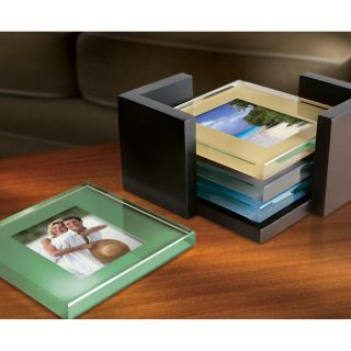 Sarah Peyton Colored Glass Photo Coasters with Stand