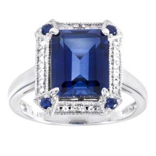 14k White Gold Lab created Ceylon Sapphire and Diamond Ring