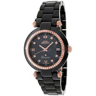 Swiss Precimax Womens Black Ceramic Avant Diamond Watch