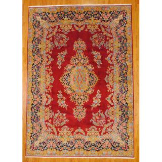 Persian Hand knotted Kirman Red Wool Rug (10 x 142)