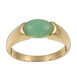 14k Yellow Gold Natural Green Jade Ring (Size 6.5)