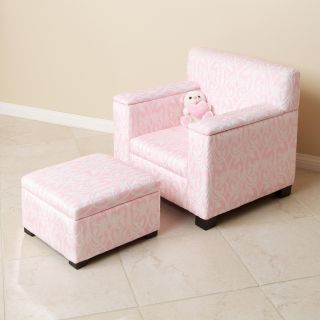 Light Pink/ White Fabric Kids Club Chair and Ottoman Set
