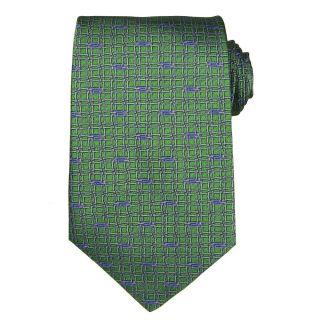 Versace Mens Interlocking Chain Greek Key Silk Tie
