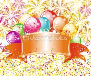 Festive fireworks and balloons. Birthday background  Stock Vector