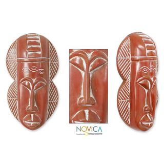 Handcrafted Sese Wood Kuano Royalty African Tribal Mask (Ghana