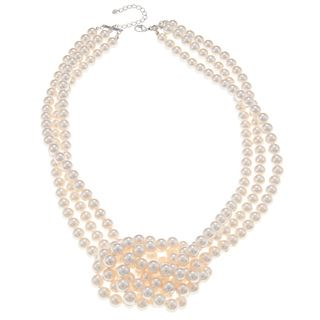 Roman Cream Faux Pearl 3 strand Side Knot Necklace