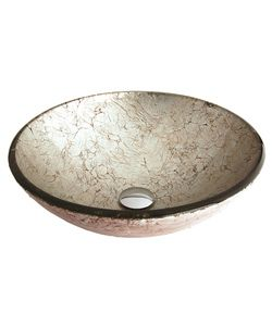 Fontaine Silver Foil Glass Vessel Bathroom Sink