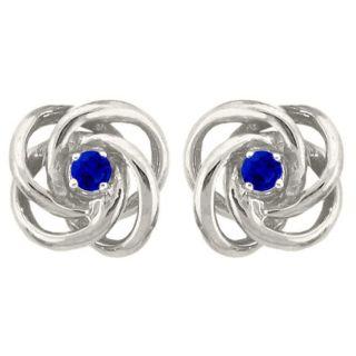 10k Gold September Birthstone Created Sapphire Love Knot Stud Earrings