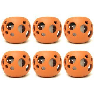 Orange Round Ceramic Solar Lights Pot with Bubble Cutouts (Set of 6