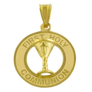 14k Yellow Gold First Holy Communion Charm