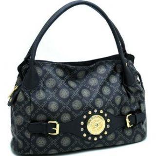 Designer Inspired Gold Studded Satchel Handbag w/ Front