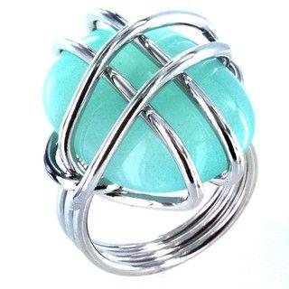 Silvertone Wire wrapped Aqua colored Stone Cocktail Ring