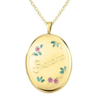 14k Gold and Sterling Silver Grandma Oval Locket Necklace