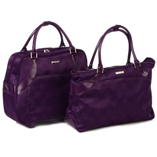 Isabella Fiore Purple 2 piece Carry On Luggage Set