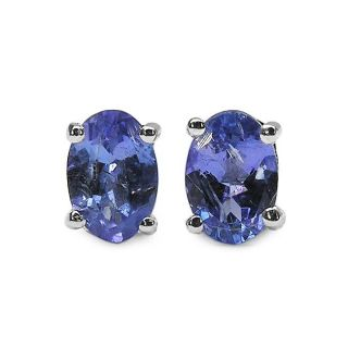 Malaika Sterling Silver Oval Tanzanite Stud Earrings