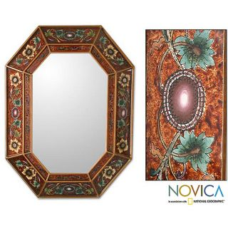 Handcrafted Reverse painted Glass Colonial Red Wall Mirror (Peru