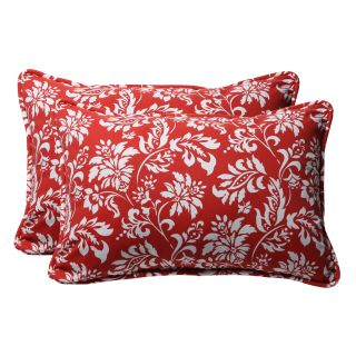 Decorative Red/ White Floral Rectangle Outdoor Toss Pillow (Set of 2