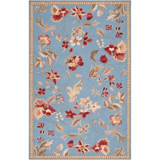 Hand hooked Blue Andre Wool Rug (8 x 10)