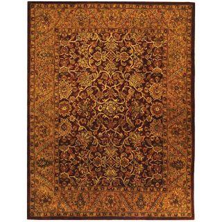 Handmade Taj Mahal Burgundy/ Gold Wool Rug (6 x 9)