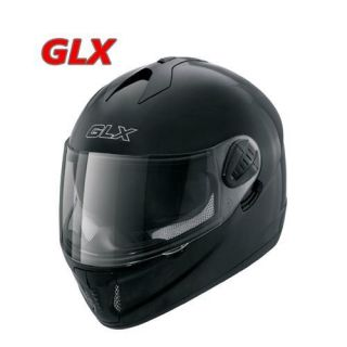 GLX Adult Full Face Glossy Black Motorcycle Helmet