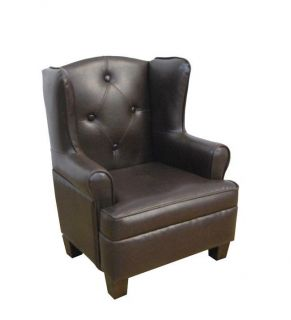 Luxury Toddler Kids Brown Faux Leather Wingback Chair
