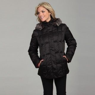 Nautica Womens Black Faux fur Hooded Coat FINAL SALE
