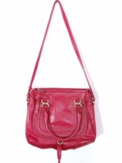 BESSO Red Leather Luxury Italian Shoulder Bag Handbag