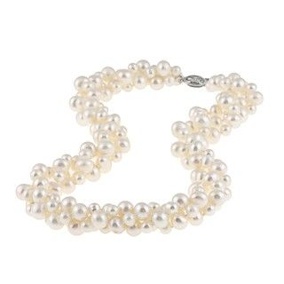 Sterling Silver Freshwater Pearl Twisted Necklace (4 mm/ 8 mm