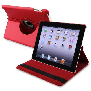 Red 360 degree Swivel Leather Case for Apple iPad 2/ 3