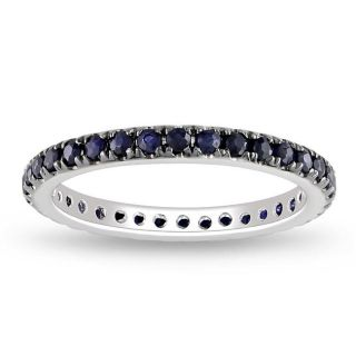 14k White Gold Blue Sapphire Eternity Ring