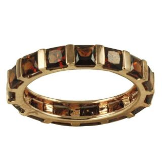 Gems For You 10k Rose Gold Garnet Eternity Ring (Size 7)