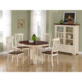 Antique White/ Walnut Veneer Pedestal Table